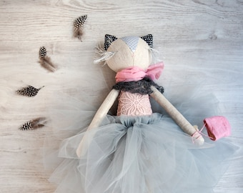 Natalie, Handmade Cat Doll Stuffed with Wool, Ballerina Doll, Gray Tulle, Pink