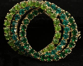 Green Rhinestone Circle Brooch Pin Tricolor- Tricolor Green Rhinestone Wreath Brooch Vintage