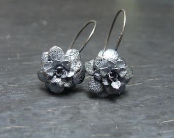 Sedum Rosette Hoops -- Flower Earrings -- Nature Cast -- Botanical Jewelry -- Ready to Ship