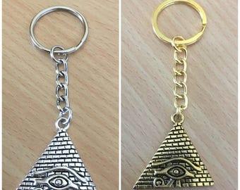 Egyptian Pyramid Keyring   Eye of Horus Pyramid Keychain   Eye of Ra Keyring   Egyptian Keyring   African Pendant Accessories