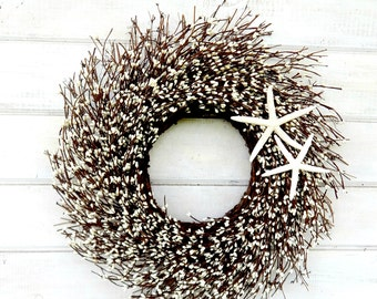 Beach Decor-COASTAL STAR FISH Wreath-White Twig Wreath-Star Fish Decor-Coastal Home Decor-Bathroom Wall Hanging-Custom Scented Wreaths-Gifts