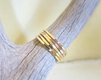 Skinny Mini Gold Stack Rings Set Of Five