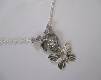 """Butterfly Necklace Sun on pink topazes infinite heart"""