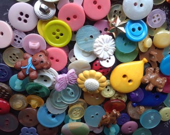 Assorted Plastic Buttons - 100 CLEARANCE Buttons - Blue Purple Pink Bear Flower Kids Mix - Destash Button Mix