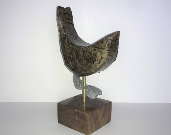 Wooden Bird Sculpture with wasp paper and seashell
