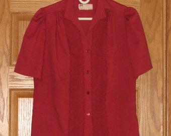 """Red Lace Blouse / Vintage 1970's / """"Carefree Fashions"""" Scottsdale Arizona / Size Medium"""