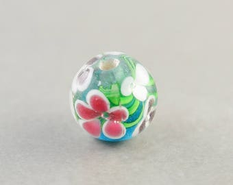 Flower Glass Bead,  Pink Aqua White Bead, 12mm Round, One