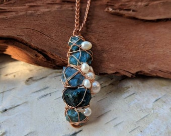 """Oceanic Blue """"Sheen"""" Obsidian Conglomerate Wire Wrapped Pendant with Fresh Water Pearls"""