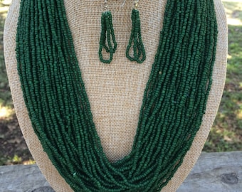 Necklace Beautiful Multi Strand of Small Green Beads with Matching Earring