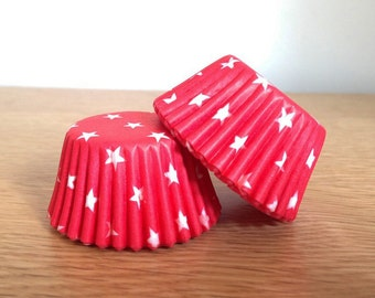 Mini Muffin Cases - Red & White Star Print - 96 Small Patterned Paper Cupcake Cases in a Pod - Party, BBQ, Summer, 4th July, Superhero