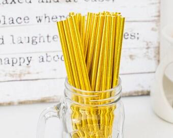 Gold Paper Straws, Beautiful Gold Straws for Wedding or Birthday Celebration, Gold Straws, Gold, Paper Straws, Wedding Straws