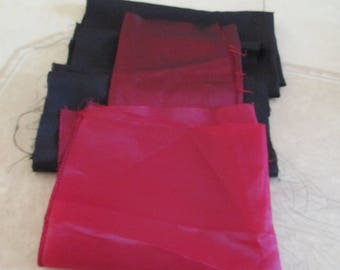set of 6 scraps of Burgundy and black lining