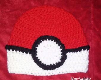 Crochet Hat- Crochet Beanie- Kids Winter Hat- Pokeball Hat- Pokemon- Knit Hat- Kids Knit Hat- Kids Hat- Pokemon Go- Pokeball- Toddler Hat