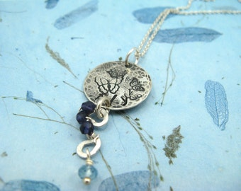 Fly hand-stamped necklace - sterling silver with iolite and aquamarine gemstones