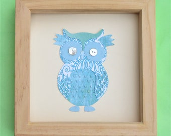 owl picture for a box frame / cute owl wall art / owl art / ideal gift / a turquoise owl picture handmade using scrapbook paper