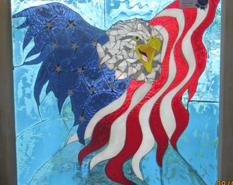 Mosaic stained glass eagle/American flag