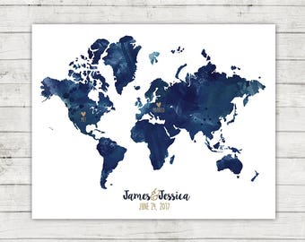 Met + Married Wedding Guest Book Alternative Map, World Map, Digital File, Printable, Travel Themed Wedding, Destination Wedding, Watercolor