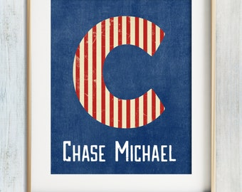 Boys Wall Art, Baby Boy Nursery, Nursery Decor Boy, Beach Nursery Theme, Custom Name Print, Red White Blue Modern Nursery, Personalized Boy