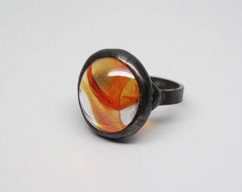 Sunfire - Sterling Silver Stained Glass Nugget Ring - Size 7