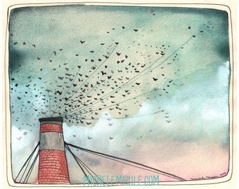 Art - Art Print - Swift Art - Portland Art - Chapman Swifts - Watercolor Art - 8x10 Print - Birds in Flight - Bird Art - Chapman Swifts