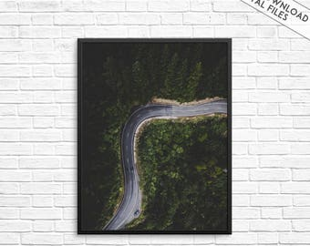 Forest print, Forest photography, Road Print, Road photography, Road wall print, Trees print, Trees photography, Forest wall art, Travel art