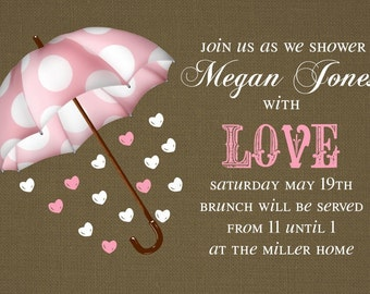 Baby Shower Invitation or Bridal Shower Invitation -- Umbrella