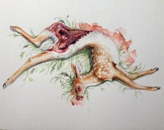 Original Deer and ferns watercolor painting