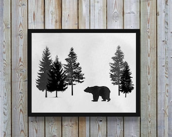 Bear,watercolor,Bear art,nursery,forest art,wildlife,nature, bear decor,gift for nursery, men,woodland,Gray,black & white,Printable, digital