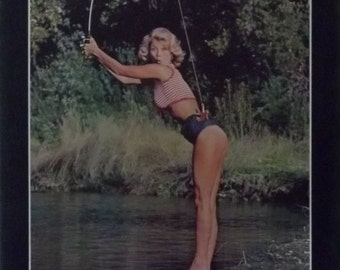 What A Catch 23x35 70's Pin Up Girl Poster Vintage 1977