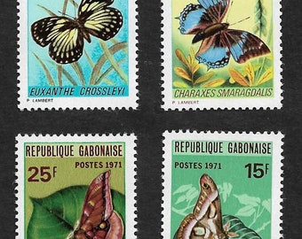 Set of 4 Gabon Vintage Postage Stamps Butterflies 1971 (Mint). For collectors, postcrossing, scrapbooks, mail-art, collage, journals
