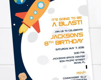 Outer Space Invitation, Space Birthday, Rocket Birthday, Space Party, Planet Birthday Invitation, Space Birthday, Digital File