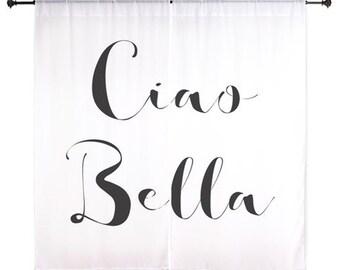 Chiffon Curtains - Ciao Bella - Sheer Curtains - Italy Curtains - Dorm Room Curtains - Black White Curtains - Girls Curtains - Teen Curtains