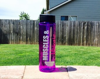 Muscles & Mascara Water Bottle // 24oz Plastic Bottle with Spout // Custom Colors Available // 21 Day Fix Water Tracker