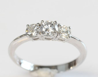 1/2 carat Diamond Ring, 14K White Diamond Ring, Engagement Ring, White Gold Ring,wedding band, vintage ring, unique diamond present,
