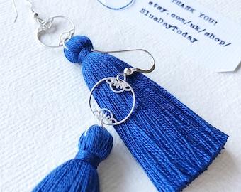 Deep Blue Sea | Tassel Earrings. Sterling Silver Earrings & Silk Tassels.