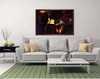 Abstract Flower Art, Dark Photography Print, Horizontal Picture, Purple and Black