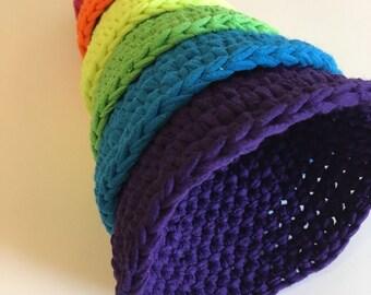 neon roygbiv montessori inspired nesting cones made from upcycled t-shirt yarn.