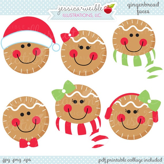 gingerbread faces cute christmas digital clipart commercial rh etsy com cute christmas clipart free cute christmas clipart free
