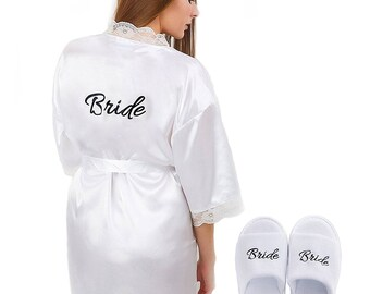 Womens Bridal Robes with Lace trimming and right pocket. Enjoy 'FREE' Bride Slippers.