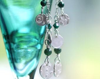 fine silver earrings, envy, pmc, precious metal clay