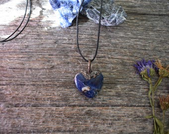 Sodalite Heart Shaped Copper Necklace