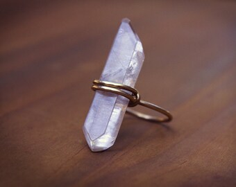 Crystal Ring, Raw Crystal Ring, Raw Crystal Statement Ring, Raw Crystal Point Ring