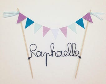 Cake topper flags with aluminum wire, customizable name! Dimensions: 21 to 25cm