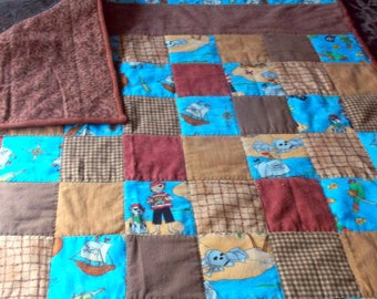 """PIRATE BABY QUILT New flannel  36"""" X 37"""""""" Boy Pirate/parrots/dog/ship/skull and crossbones Baby Boy Shower Gift"""