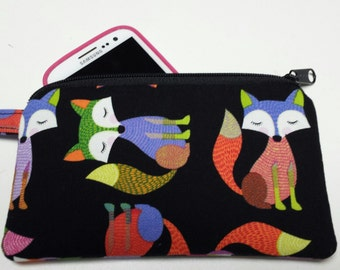 Fox Zipper Pouch, Fox Phone Bag, Fox Pouch with Clip, Fox Gadget Pouch, Fox Clip Pouch, Zipper Pouch with Fox, Nylon Liner, Strap with Clip.