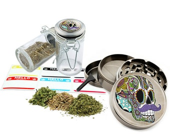 "Mustache Sugar Skull - 2.5"" Zinc Alloy Grinder & 75ml Locking Top Glass Jar Combo Gift Set Item # G021615-028"