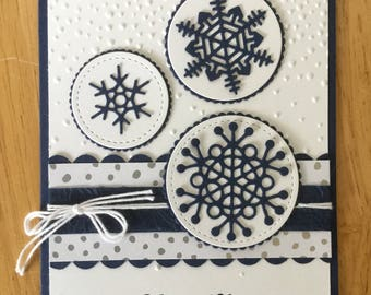 Stampin Up handmade Christmas card - White and blue snowflakes