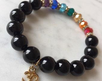 Chakra bracelet, crystal chakra jewellery,onyx stone,aum charm,yoga beads,meditation bracelet,spiritual jewellery,gift for her,gift for him