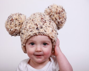 6 to 9 Month Baby Hat 11 Colors Baby Boy Hat Baby Girl Hat Chunky Crochet Pom Pom Hat Mouse Ear Hat Animal Ear Hat Fun Photo Prop Cute
