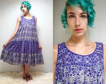 COTTON GAUZE DRESS India Cotton Dress Gypsy Dress Floral Sundress Boho Dress Festival Dress 70s Dress Hippie Dress Vintage Maternity Dress